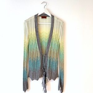 Missoni chevron lace up tassel cardigan 44